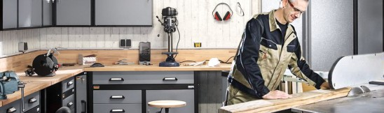 ergonomisch werken met werkplaatsinrichtingen van hornbach. Black Bedroom Furniture Sets. Home Design Ideas