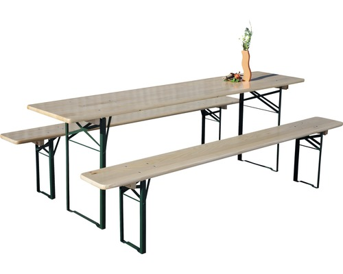 Bierbank set, 220x50x75 cm, Vuren, naturel, 3-delig
